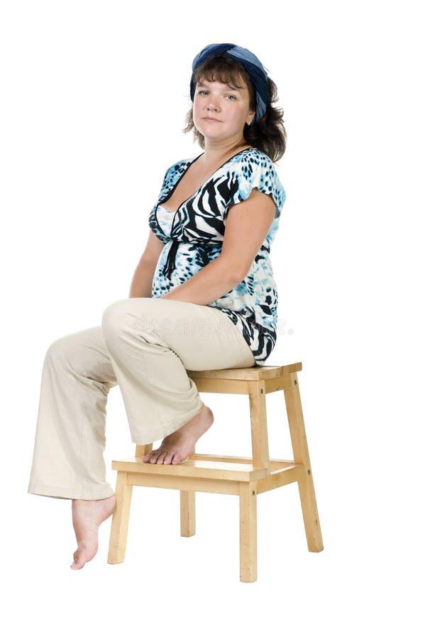 Portrait expectant mother closeup stock photos