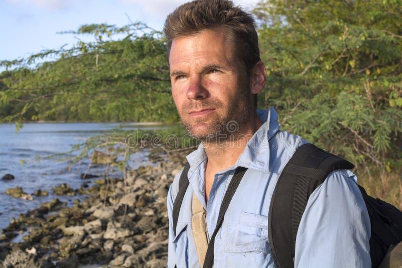 Portrait of explorer stock photo