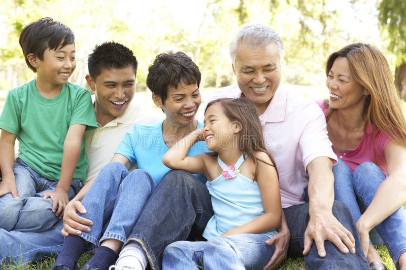 Portrait Of Extended Family Group In Park stock photography