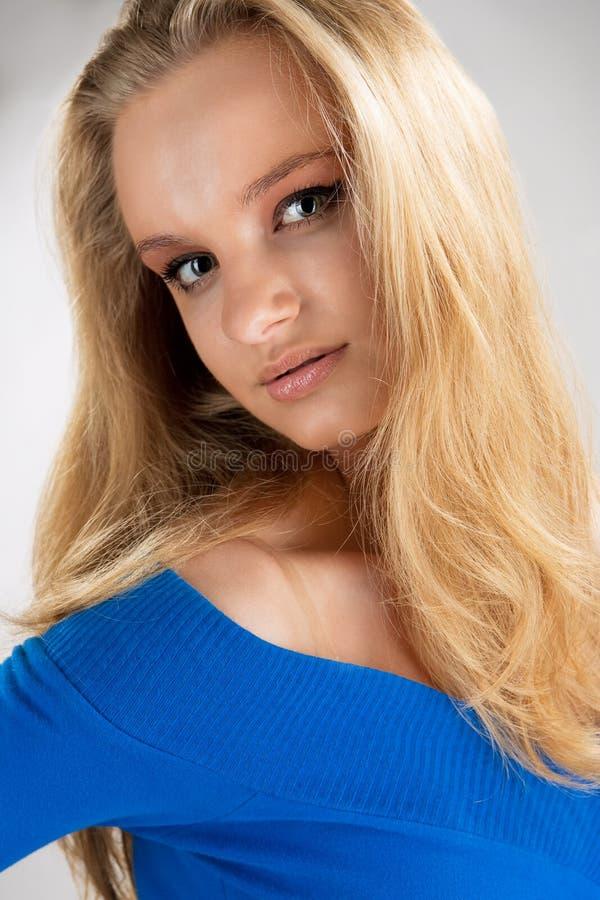 Portrait of extravagant passion blonde stock image