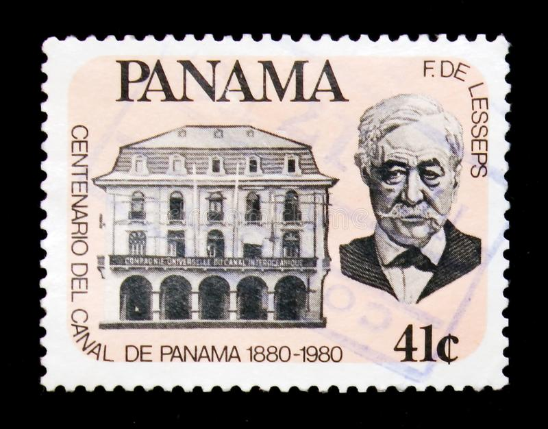 Portrait of F. de Lesseps, Centenary of the Panam canal serie, c. MOSCOW, RUSSIA - JANUARY 2, 2018: A stamp printed in Panama shows Portrait of F. de Lesseps stock photos