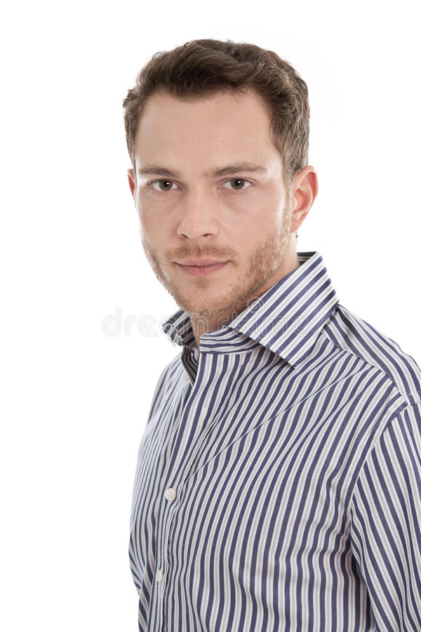 Portrait - face of dark blond business man staring isolated on w royalty free stock photo