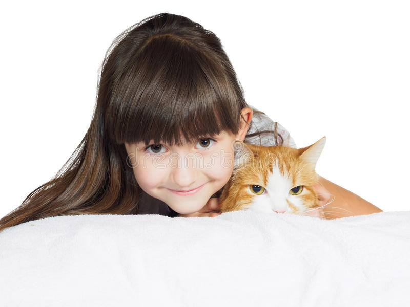 Portrait of face funny caucasian child kid girl sister with red cat isolated royalty free stock photo