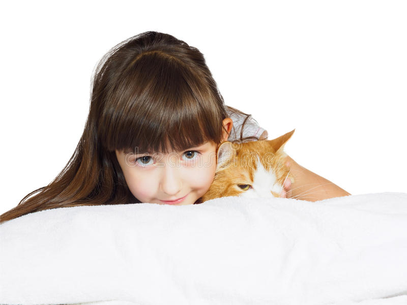 Portrait of face funny caucasian child kid girl sister with red cat isolated stock photography