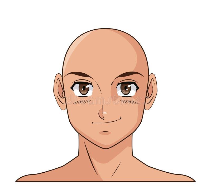 Portrait face manga anime male bald smiling. Vector illustration eps 10 royalty free illustration