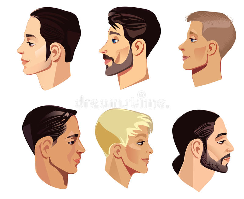 Portrait of face mens in profile. Vector illustration of portrait of face mens in profile vector illustration
