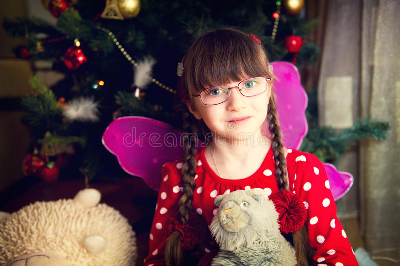 Download Portrait Of Fairy Girl In Front Of Christmas Tree Stock Image - Image of emotion, caucasian: 22298927