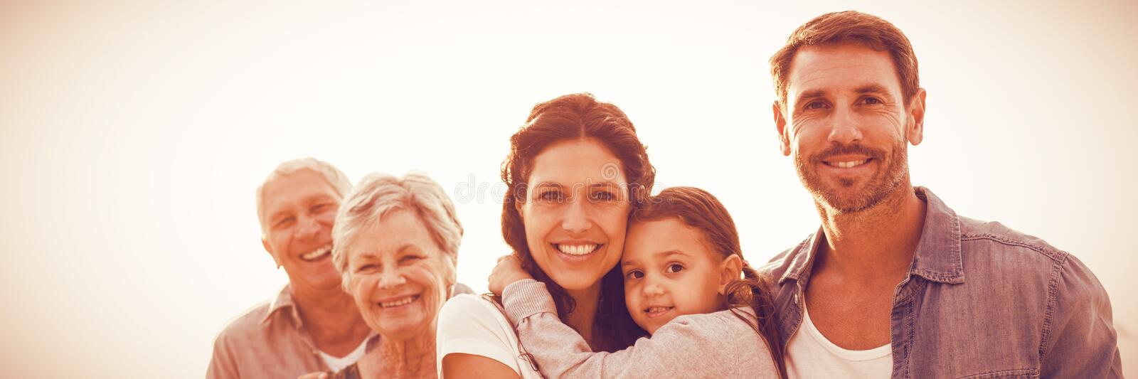 Portrait of family at beach royalty free stock photos
