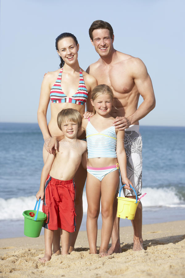 Portrait Of Family Enjoying Beach Holiday royalty free stock images