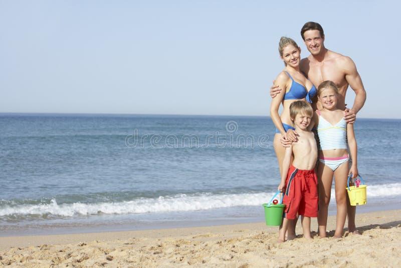 Portrait Of Family Enjoying Beach Holiday stock photography