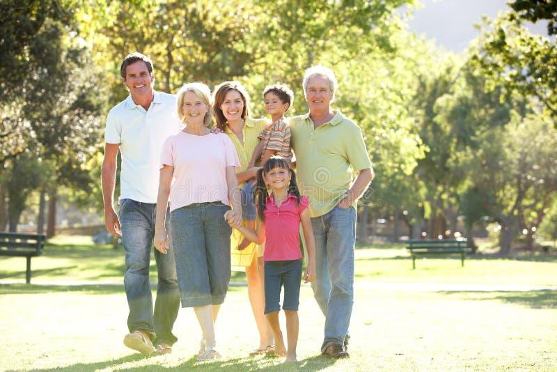 Portrait Of Family Enjoying Walk In stock photos