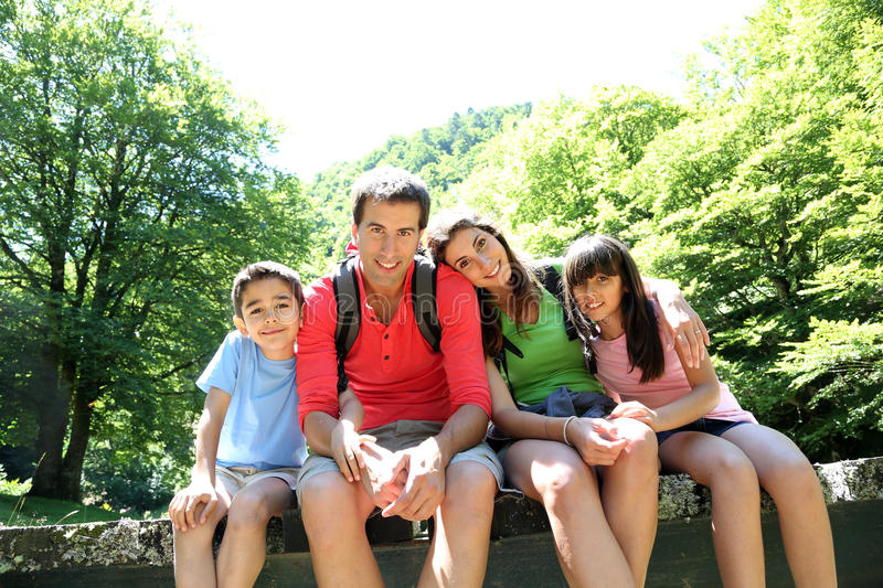 Portrait of family in the forest royalty free stock photos