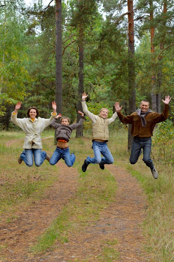 Portrait of family of four in park stock photos