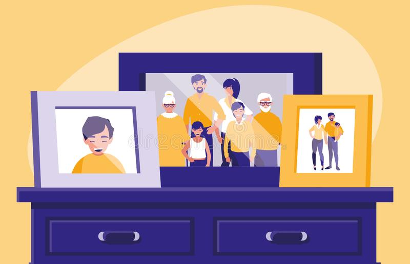 Portrait with family members picture in drawer. Vector illustration design stock illustration