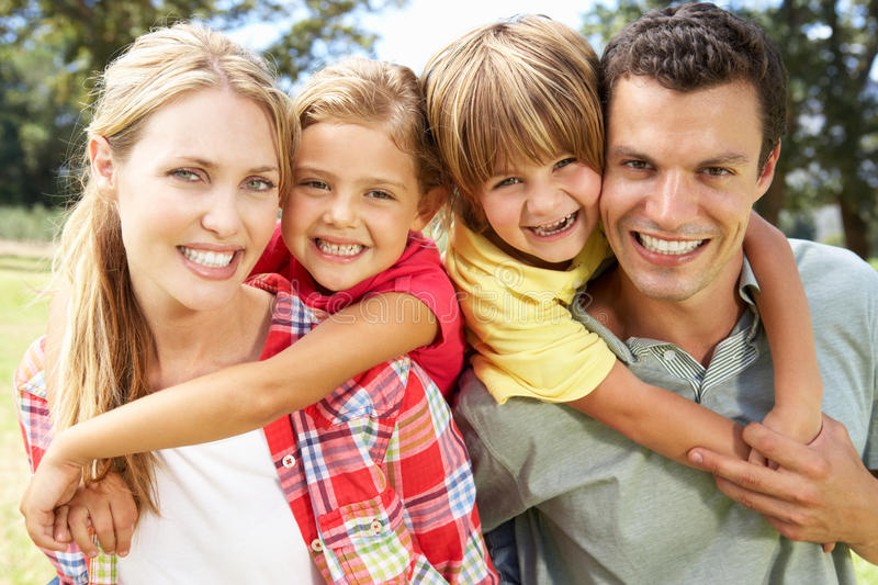 Portrait family outdoors stock images
