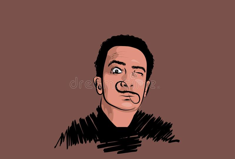Portrait of famous spanish artist Salvador Dali. Perfect for  decor such as posters, wall art, tote bag, t-shirt print, sticker, post card vector illustration