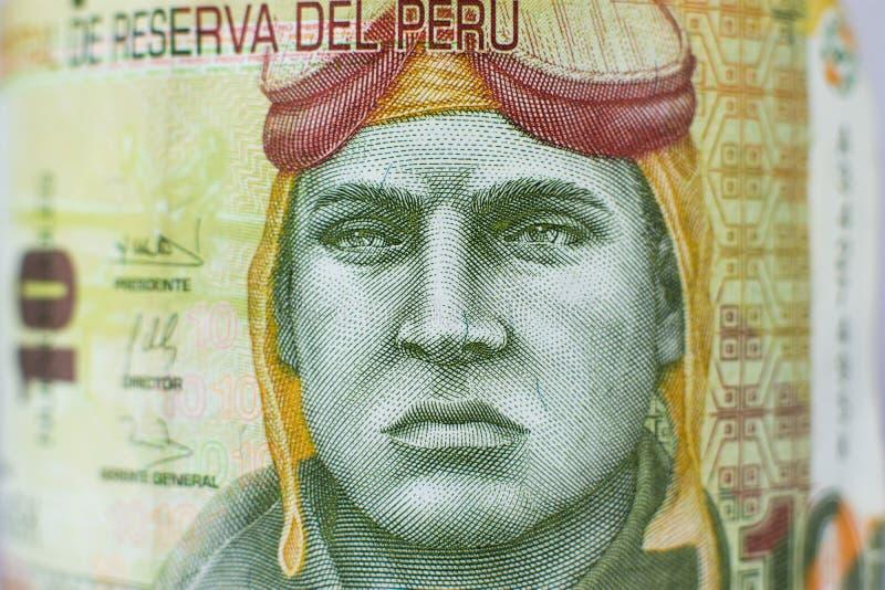 Portrait on 10 Sol peruvian money bill royalty free stock photography