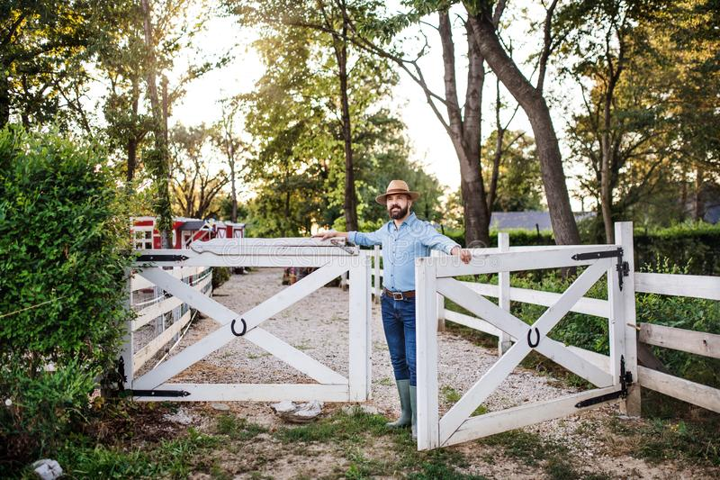 A portrait of farmer walking outdoors on family farm, opening gate. stock image