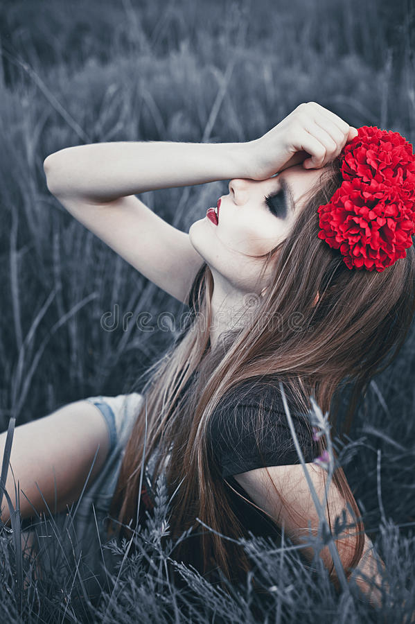 Portrait of Fashion Beautiful Woman on Nature. Pure Beauty Mode. L Girl. Perfect bright smoky Makeup. With Flower Wreath. Cold toning. Punk, rock, gothic stock photography