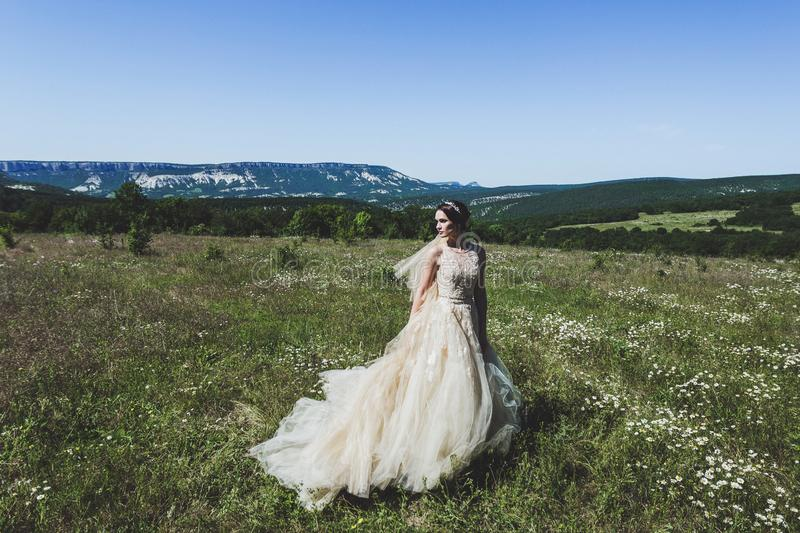 Portrait of bride in green field with panoramic mountain view. Portrait of fashion bride in green field with panoramic mountain view royalty free stock photos