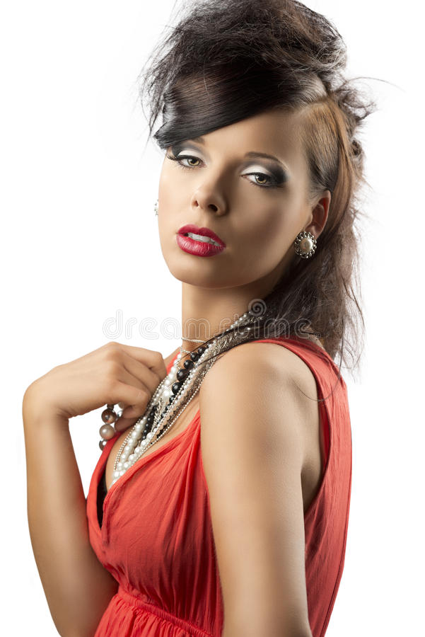 Download Portrait Of Fashion Brunette Looks In To The Lens Stock Image - Image: 25462717