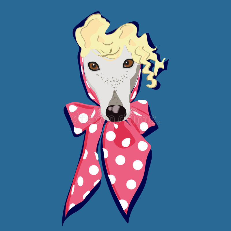 Portrait of fashion dog. Blonde in a pink scarf in peas with curly ringlets royalty free illustration