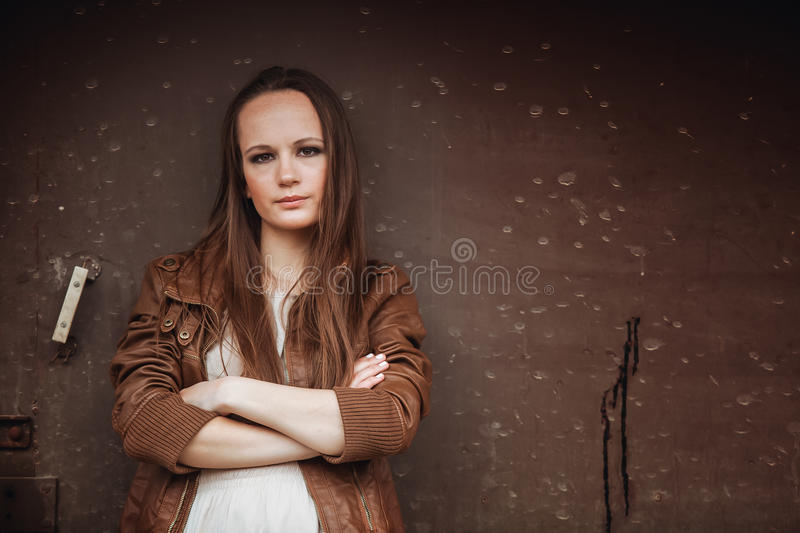 Download Portrait Of Fashion Model Girl On The Industrial Background Stock Photo