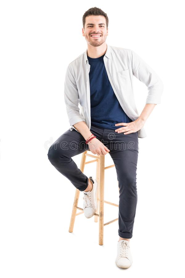 Portrait Of Fashionable Man Against White Background royalty free stock photography