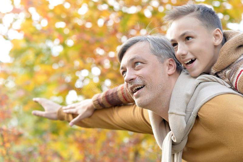 Portrait of father and boy in park royalty free stock photos
