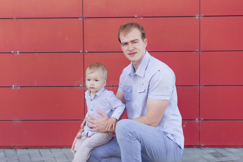 Download Portrait Of Father And Son On The Nature Stock Photo - Image: 83719090
