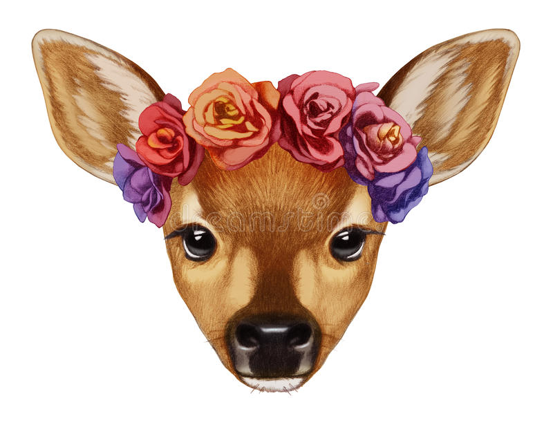 Portrait of Fawn with floral head wreath. stock illustration