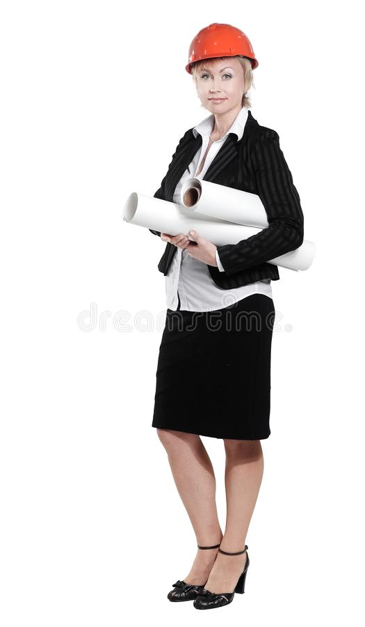 Portrait of a female architect with blueprints royalty free stock photos