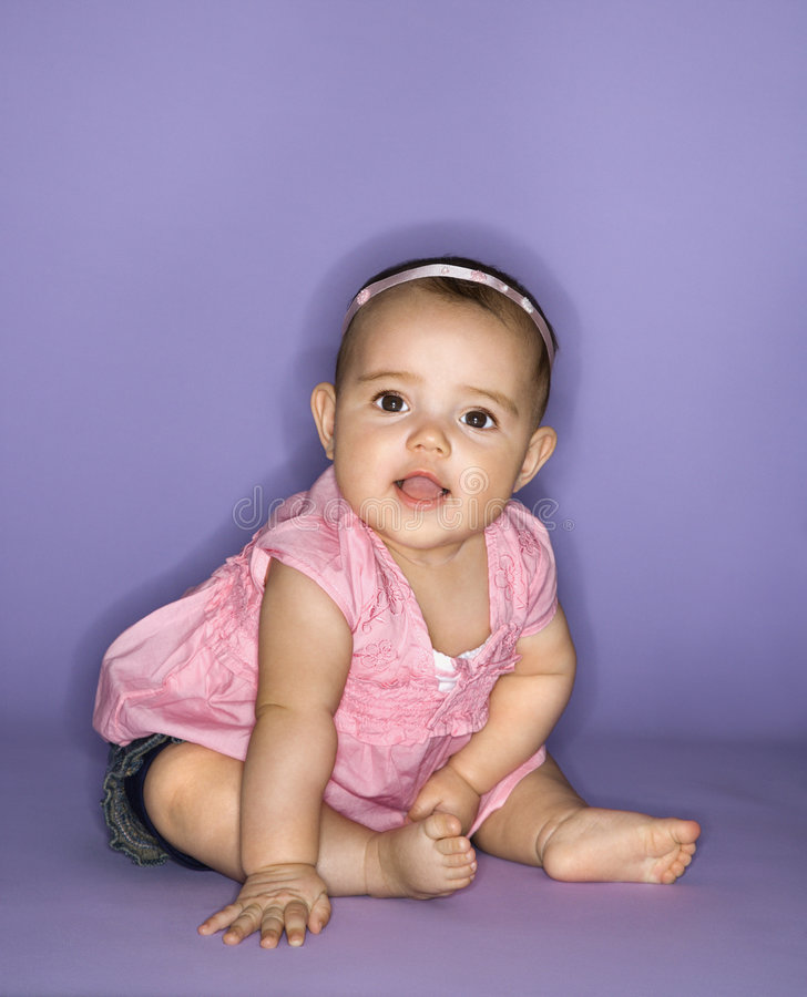Portrait of female baby. royalty free stock photography