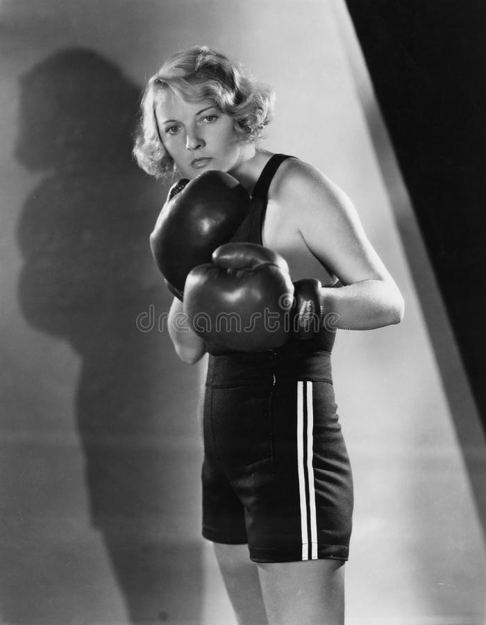 Portrait of female boxer stock photography