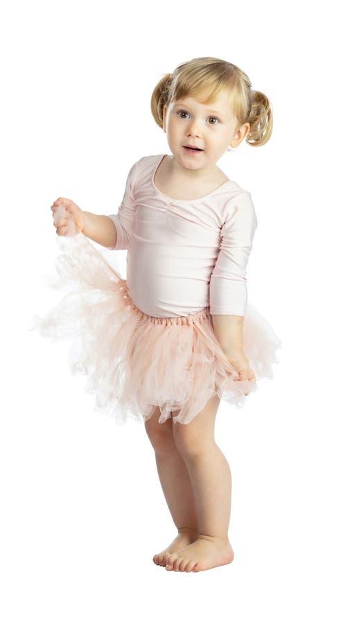 Isolated female child with tutu royalty free stock image