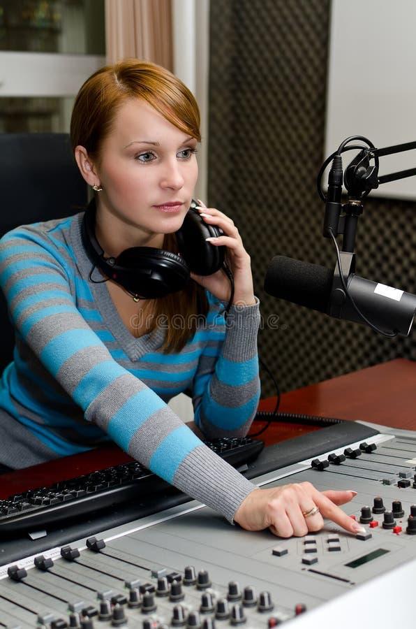 Download Portrait of female dj stock photo. Image of news, controls - 27021560