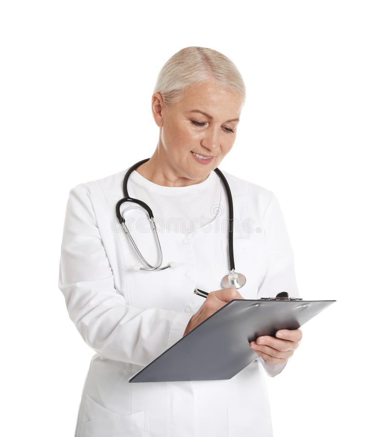 Portrait of female doctor with clipboard isolated. Medical staff. Portrait of female doctor with clipboard isolated on white. Medical staff stock images