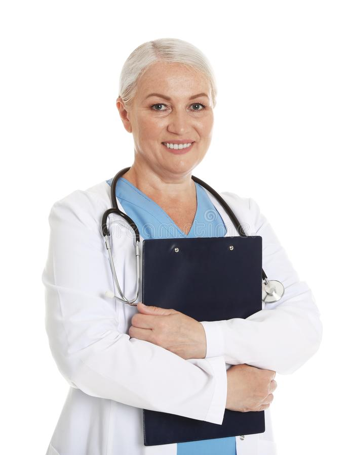 Portrait of female doctor with clipboard on white. Medical staff. Portrait of female doctor with clipboard isolated on white. Medical staff royalty free stock image