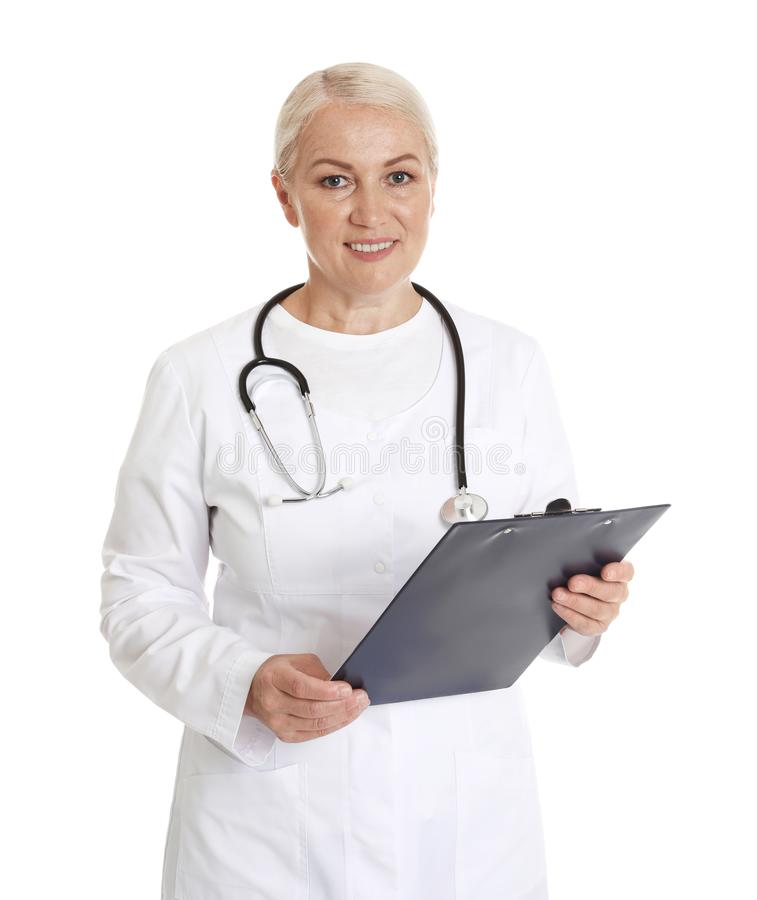 Portrait of female doctor with clipboard on white. Medical staff. Portrait of female doctor with clipboard isolated on white. Medical staff stock images