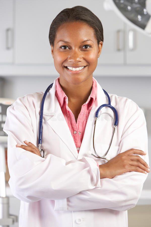 Portrait Of Female Doctor In Doctor's Office royalty free stock image