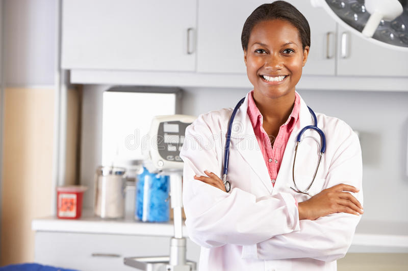 Portrait Of Female Doctor In Doctor's Office stock photo