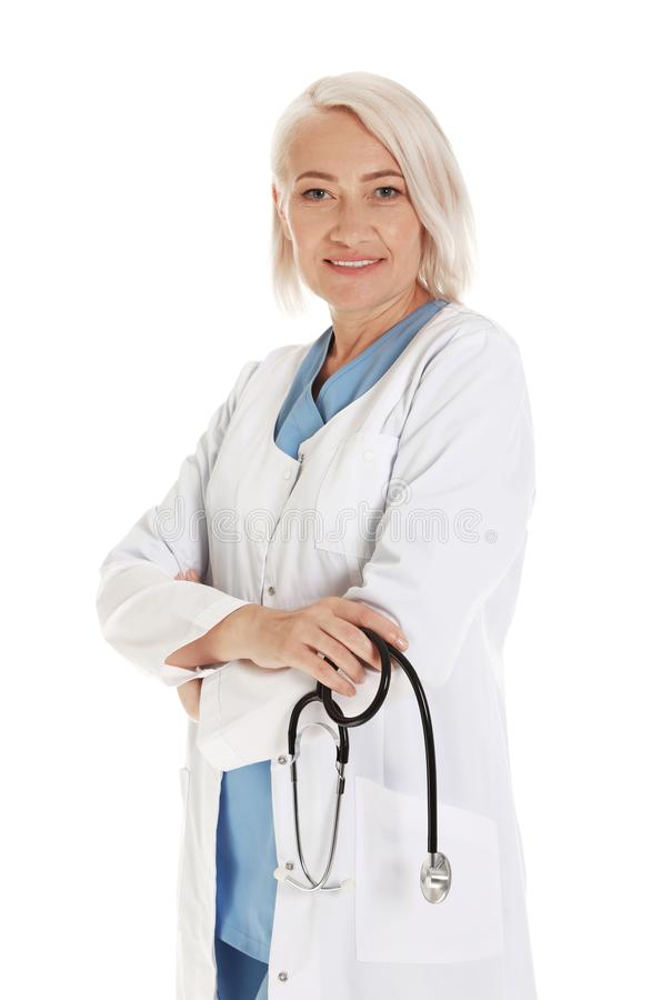 Portrait of female doctor isolated. Medical staff. Portrait of female doctor isolated on white. Medical staff royalty free stock photography