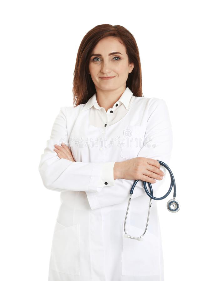 Portrait of female doctor isolated. Medical staff. Portrait of female doctor isolated on white. Medical staff stock photos