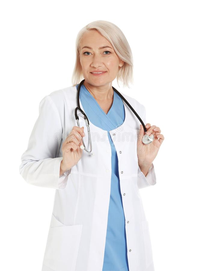 Portrait of female doctor on white. Medical staff. Portrait of female doctor isolated on white. Medical staff royalty free stock photos