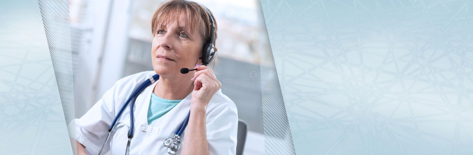 Portrait of female doctor during online medical consultation; panoramic banner stock photo