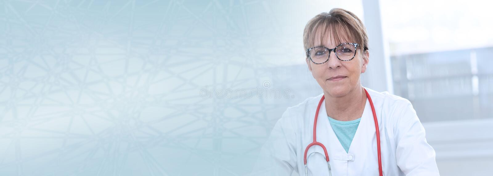 Portrait of female doctor; panoramic banner royalty free stock image