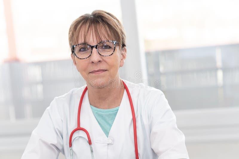Portrait of female doctor stock photo