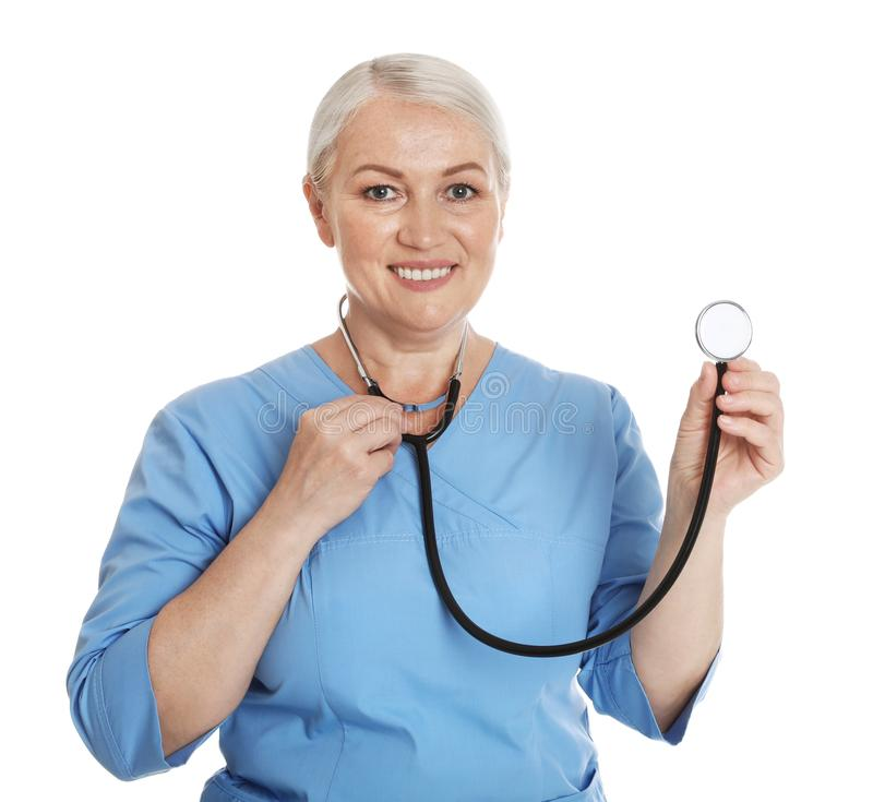 Portrait of female doctor in scrubs isolated. Medical staff. Portrait of female doctor in scrubs isolated on white. Medical staff stock photos