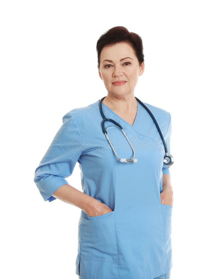 Portrait of female doctor in scrubs isolated. Medical staff. Portrait of female doctor in scrubs isolated on white. Medical staff stock photography