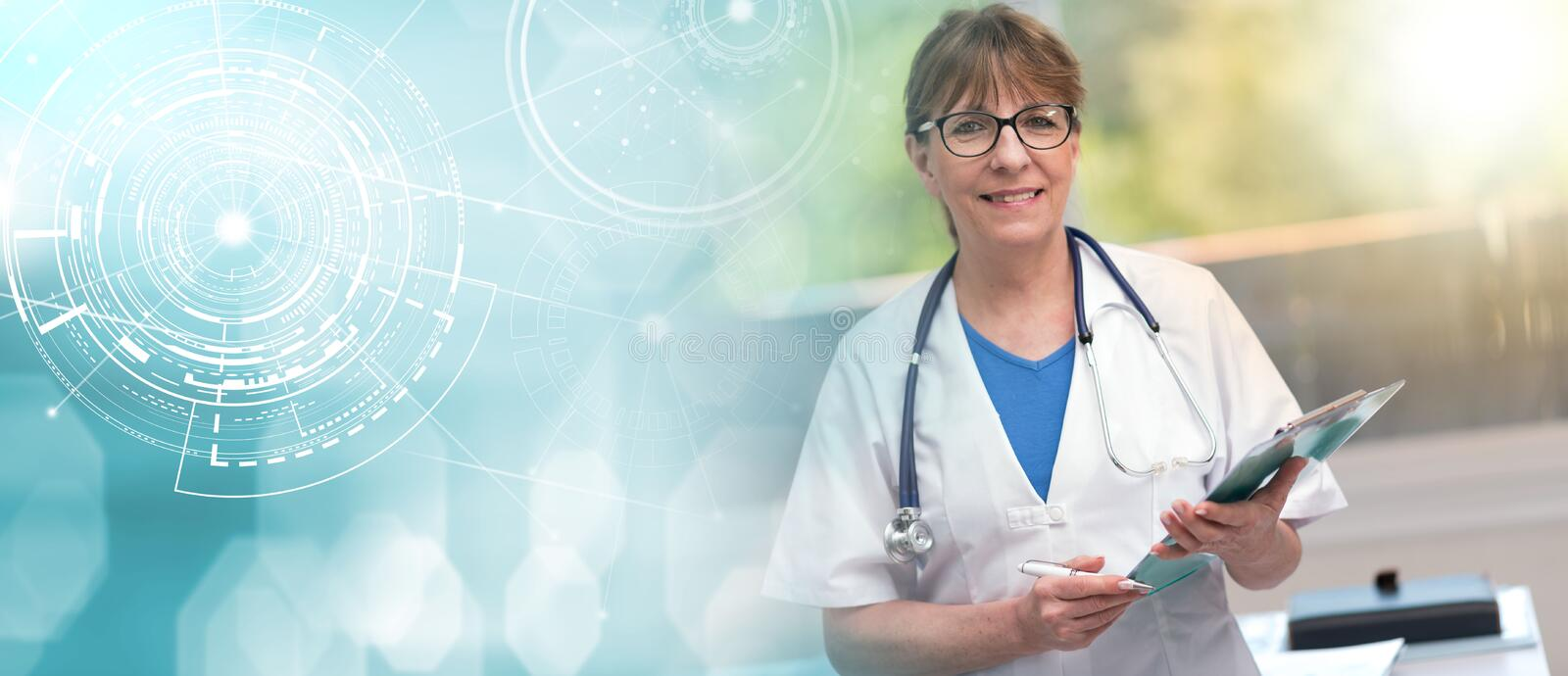 Portrait of female doctor holding a clipboard; light effect royalty free stock photo
